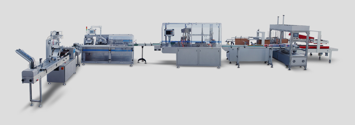 blister film carton and box packing line